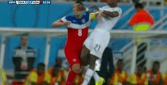 Clint Dempsey caught a kick to the face, but played on (obviously). #WorldCup #FIFA2014