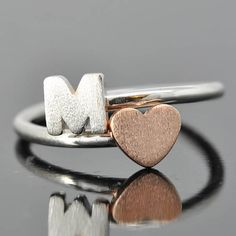 initial ring heart ring adjustable ring alphabet by JubileJewel
