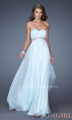 Long Strapless Empire Waist Gown at PromGirl.com