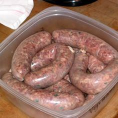 Andouille Sausage Recipe - Home made spicy Andouille sausages. Adjust the seasonings to suit your preferences. Andouille Sausage Recipes, Homemade Sausage Recipes, Best Sausage, Italian Sausage Recipes, Sweet Italian Sausage, German Sausage, Venison Recipes, Homemade Recipe, Grilling Recipes