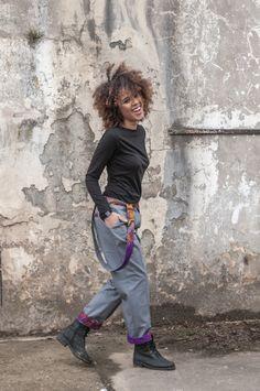 Spodnie Africa in your pocket szelki Szare   www.kokoworld.pl #africa#fairtrade #handmade #pants