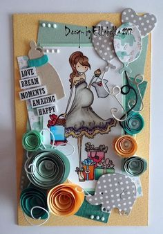 stampingbella, mom, baby, card, paperflower, joycarft, dies, copicmarker