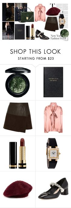 """""""Let the Fashion Month Begin!"""" by anastasianhaut ❤ liked on Polyvore featuring MAC Cosmetics, Smythson, Alice + Olivia, Balenciaga, Gucci, Chaumet, Paul Smith, Miu Miu and Aspinal of London"""