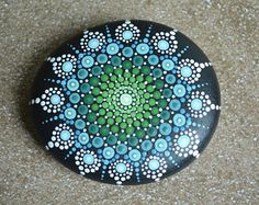 Big Heart Dot Art Mandala Painted Stone Fairy Garden Gift