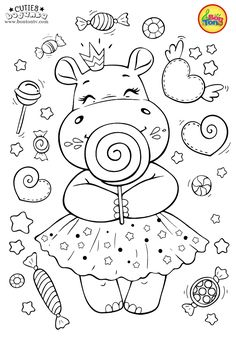 Cuties Coloring Pages for Kids - Free Preschool Printables - Slatkice Bojanke - Cute Animal Coloring Books by BonTon TV Space Coloring Pages, Free Kids Coloring Pages, Animal Coloring Pages, Coloring Pages To Print, Free Printable Coloring Pages, Coloring For Kids, Free Coloring, Coloring Books, Fairy Coloring