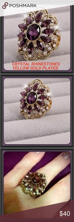 Lovely Purple Crystal GP STATEMENT RING sz 7 (NEW) Large Purple Crystal GP Flower Ring (statement piece)  Size: 7, Color: Purple Retail: $98  Material: Yellow gold plated Condition: New 2.5mm.in size. This is a gorgeous, quality made ring. Though, you need to treat with care, it's a must have to own for your favorite outings. It will be a true beauty. Do Not Wear While Showering, Using Harsh Chemical Cleaning Supplies As It May Tarnish Due To Improper Care. (All sales final on Poshmark. Ask…