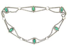 Edwardian Silver, Green & White Paste Festoon Necklace - The Antique Jewellery Company