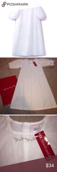 American Girl Elizabeth's Night Shift Nightgown HOST PICK Brand New with Tags American Girl Elizabeth's Night Shift Nightgown for Girls  Girls Size Small or Size 7/8 White night shift with square-neck collar Pink ribbon bows on ruffled sleeves and flower embroidery near collar  Please ask any questions  Open To Offers No Trades Ask About Bundle Discounts American Girl Pajamas Nightgowns