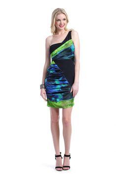 Nicole Miller Asymmetrical Electric Slide Dress