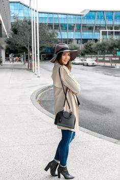 Broken Stiletto, Forever 21 trench and hat, American Eagle jeans, Nine West booties, minimal outfit, minimal style