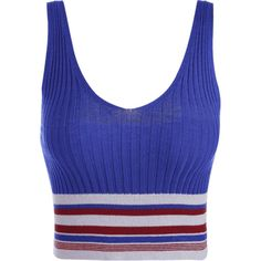 Knit Ribbed Striped Sporty Top (115 NOK) ❤ liked on Polyvore featuring tops, sweaters, rib sweater, blue striped top, striped knit top, striped knit sweater and blue striped sweater