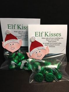 ~~~CHRISTMAS~~Elf Kisses~~~ With Little elf eyes watching you,** There's not a lot that** Santa misses,** So to help you be good today,** Here's a bunch of sweet** Elf kisses. Christmas Goodies, Christmas Projects, Winter Christmas, Christmas Holidays, Christmas Ideas, Student Christmas Gifts, Christmas Recipes, Christmas Class Treats, Student Gifts
