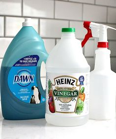Dawn + Vinegar =Cleaner This is great!!!!  I use it on everything..  No more chasing soap scum.. Shirt collars, trash cans, refrigerator, toilets... Amazing!!!