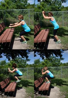 Bench Jump - a great exercise you can do almost anywhere . More playground workout ideas in this link