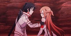 Sword art online - Kirito and Asuna gif -- She's just like 'OMFG HE'S KISSING ME OMFG OMFG OMFG, OKAY BRAIN, STOP CRYING AND KISS BACK LIKE RIGHT FUCKING NOW!!!!' and then there's us fangirls watching just like 'FUCK YES, OTP, THIS SHIP HAS SO FUCKING SAILED!!!' --