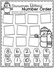 Winter Preschool Worksheets - Snowman Number Order for January.
