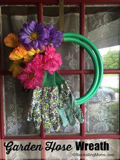 DIY Garden Hose Wreath is super cute for summer time!