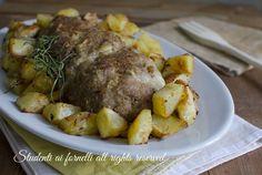 Polpettone al forno con patate perfetto per cena o per un pranzo della domenica, ripieno di prosciutto e scamorza..