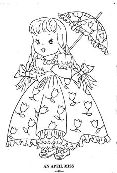 Hand Embroidery Pattern 12 Children of the Month for Quilt from 1960 Workbasket 4