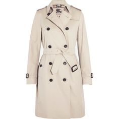 Burberry London The Kensington Long cotton-gabardine trench coat ($1,900) ❤ liked on Polyvore featuring outerwear, coats, jackets, burberry, coats & jackets, neutrals, cotton trench coat, double breasted trench coat, pink coat and double breasted long coat