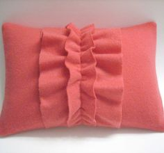 Coral ruffled throw pillow