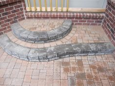 Brick Paver rounded steps.