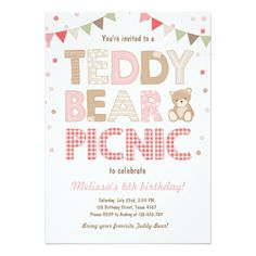 Teddy Bear Picnic Invitation Teddy BearS Birthday Invitation Boy