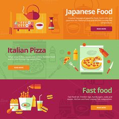 Flat Concept Banners for Cooking by painterr on Creative Market