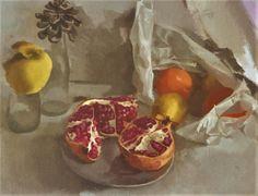 """""""Granadas y bolsa con frutas"""". Óleo sobre lienzo. Salvador Caro"""