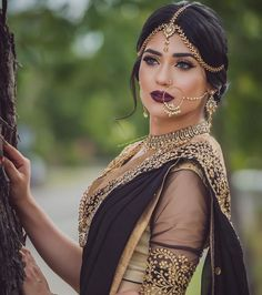 South Asian Bridal Look | Simple Bride | Black, Gold & Beige | Beautiful HairStyle