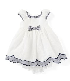84a0d99685149 Laura Ashley Baby Girls Newborn-24 Months Bow-Accented Fit-And-Flare Dress