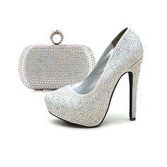 Women's Shoes Platform Stiletto Heel Sparkling Glitter Pumps Shoes Matching Evening Bag – USD $ 59.99