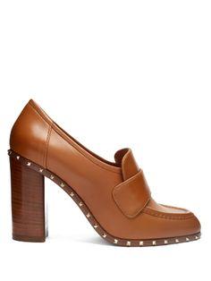 8f741a72e2 Soul block-heel leather pumps Scarpa Marrone, Pompe Di Cuoio, Scarpe Col  Tacco