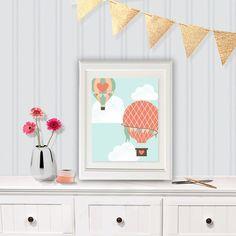 Hot Air Balloon Nursery Art, Nursery Art, Blue green and Pink Nursery, Hot Air Balloon Art Digital Jpeg