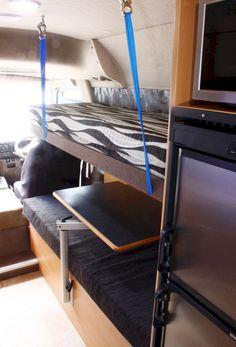 RV Hacks and Remodel Ideas to Make It Kids Friendly - Wohnwagen Rv Bunk Beds, Bunk Beds For Sale, Camper Beds, Diy Camper, Camper Van, Folding Campers, Kombi Home, Campervan Interior, Campervan Ideas