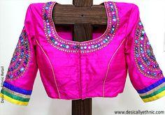 Pink Mirror work Blouse – Desically Ethnic