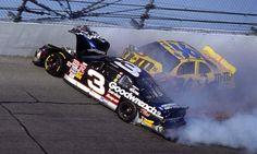 NASCAR racing legend, Dale Earnhardt, dies at Daytona. #2001 sad day!