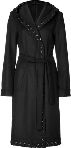 Black Hooded Double Wool Coat with Belt Halston Heritage . lyst.com