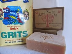 Cold Process - Momma Anne's Southern Grits Soap - Quick Grits, Eucalyptus, Lemongrass and Sandalwood EO (No measurements; however, ingredients are on the soap label. And, I liked the grits additive. - Deb)