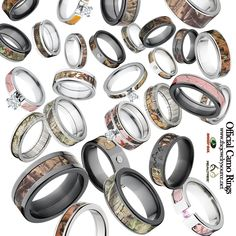 Unique Custom Rings, Wedding Bands and Jewelry USA Made par RenaissanceJewelry Camo Engagement Rings, Camo Wedding Rings, Wedding Groom, Wedding Ring Bands, Camo Promise Rings, Camo Rings, Mossy Oak Camo, Everyday Rings, Rings For Men