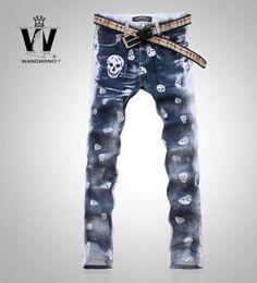 Inglaterra cráneo pintado de moda de impresión verdaderos vaqueros hombres famosa marca mens jeans pantalones skinny jeans hombres pantalones largos en Jeans de Moda y Complementos Hombre en AliExpress.com | Alibaba Group