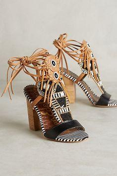 1750cc1a038 Anthropologie Sam Edelman Yates Heels Size Beaded Heels w Fringe   Sequins