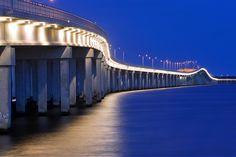 Bay St. Louis bridge Blue Hour, Gulf Of Mexico, Mississippi, St Louis, Bridge, Coast, Bridge Pattern, Bridges, Attic