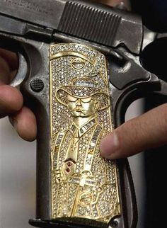 custom 1911 pistol grips | Colt 1911 .45 Semi Auto Pistol with Custom Engraved Gold Grips inlayed ...