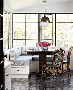 banquette, windows, chairs
