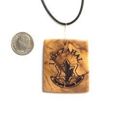 I Like ZAHAL pendant Israeli olive wood by JudaicaBennysArt