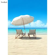 NeoBack 5x7ft Poly Vinyl Summer Sea Beach View Photo Backgrounds Photo Studio Indoor Computer Printed Children Backdrops P2291 #Affiliate