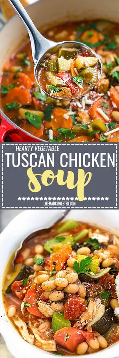 Hearty Vegetable Tuscan Chicken Soup Makes The Perfect Comforting Meal For Busy Weeknights. The best part is that It's So Easy To Make With Just 15 Minutes Of Prep Time And It's Full Of Hearty Vegetables, White Beans And Chicken. Chicken Soup Recipes, Chili Recipes, Slow Cooker Recipes, Cooking Recipes, Chicken Soups, Chicken Vegtable Soup, Recipe Chicken, Healthy Soup, Healthy Recipes
