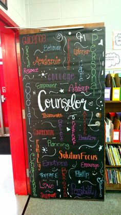 School Office Door Awesome 55 Ideas For 2019 School Counselor Door, High School Counseling, Elementary School Counselor, Counseling Office, Bulletins, Social Work, School Office, Office Decorations, Bulletin Boards
