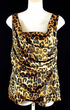 Express Leopard Print Sleeveless Top Womens Size Large Layered